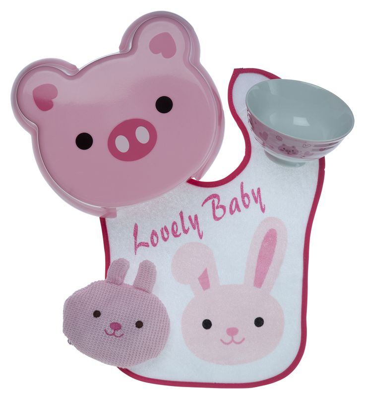 Baby gift set idea ft. Lovely Baby Pig with matching bib, stool, bowl and purse (for baby knick knacks)