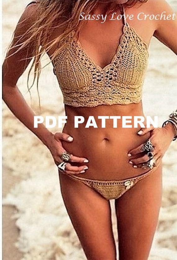 Crochet Bronze Brazilian Bikini Pattern, Halter Bikini Pattern,  Bikini Bottoms, Bikinis swimwear Boho Gypsy Festival- Digital Download
