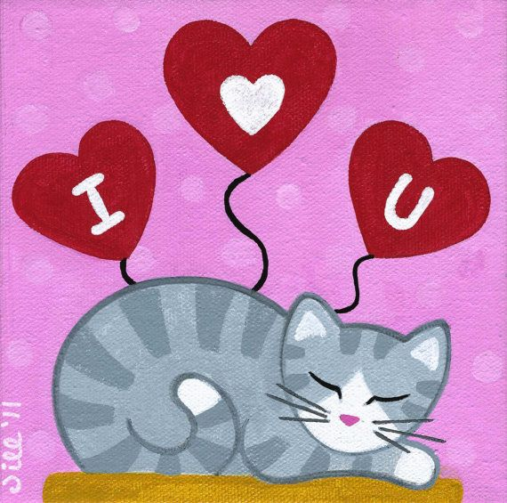 Gray Tabby CAT & VALENTINES Day Hearts Folk Art PRINT from Original Painting by Jill