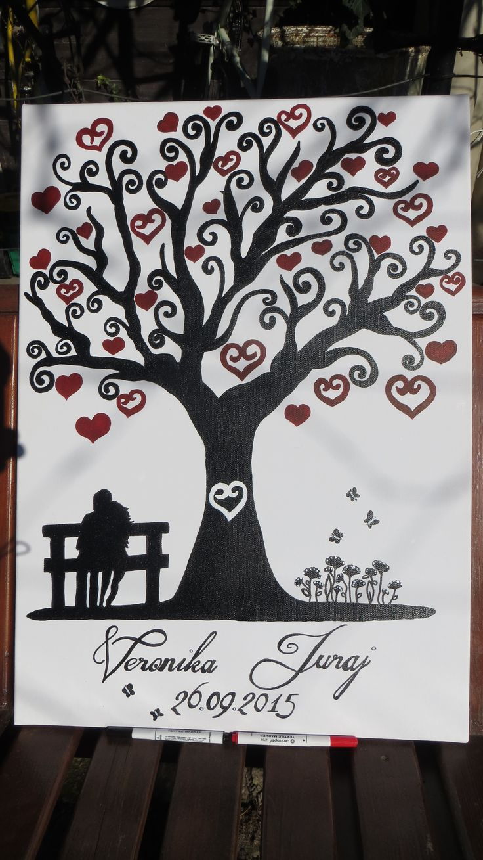 svadobný strom na plátne