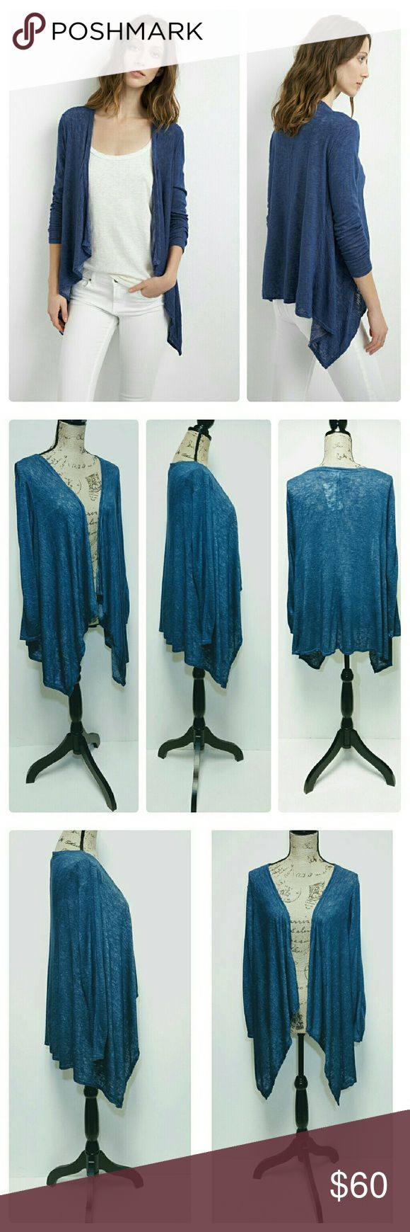 VELVET GRAHAM & SPENCER BLUE DAYO CARDIGAN Velvet by Graham & Spencer open front, 3/4 sleeve, drape cardigan. Size L. The Dayo cardigan is crafted from super soft lightweight textured knit. Color is Coastline/blue. Long drape in front and shorter in back with a length just above the hips. Front drape is below the hips. NWT. Velvet by Graham & Spencer Sweaters Cardigans