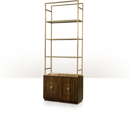 "SONU - please include the images under the ""SEE MORE"" tab as well for this item - A fumed eucalyptus veneered and brass inlaid display case, the geometric arrangement of brass supports with three glass shelves, above a base with two doors with bold geometric handles enclosing an adjustable shelf, on an inset plinth base."