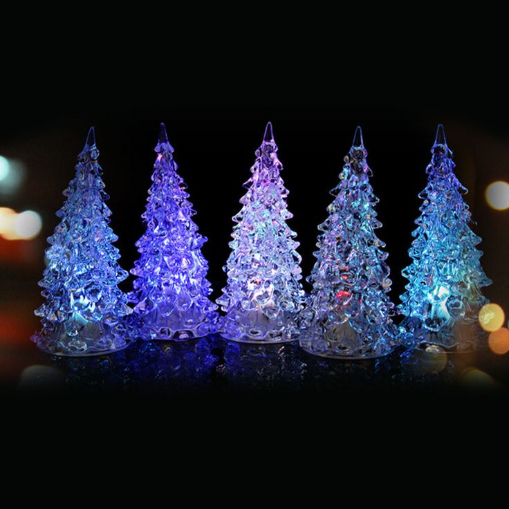 Vintage Crystal Chritmas Tree Home Decoration Color Changing Colorful Xmas party wedding carnival decorative Led Light lamp