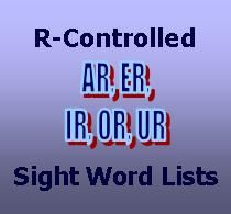 FREE PRINTABLE R-Controlled Word Lists