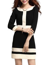 Jollychic Fashion Color Blocking Woman Black Dress