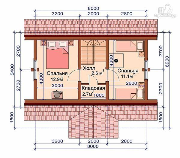Фото 3: проект дом-баня с двумя спальнями 5.6х8.2 м
