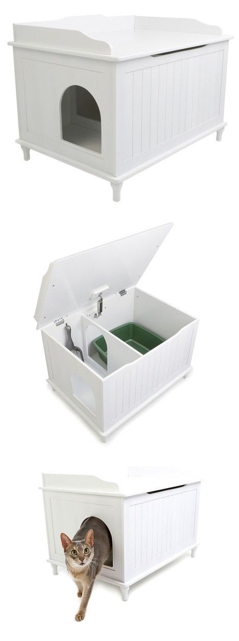 Designer Catbox Litter Box Enclosure in White - could also be DIY'd, I would add a little carpet in the smaller area and just to be sure, a mat underneath the whole thing.