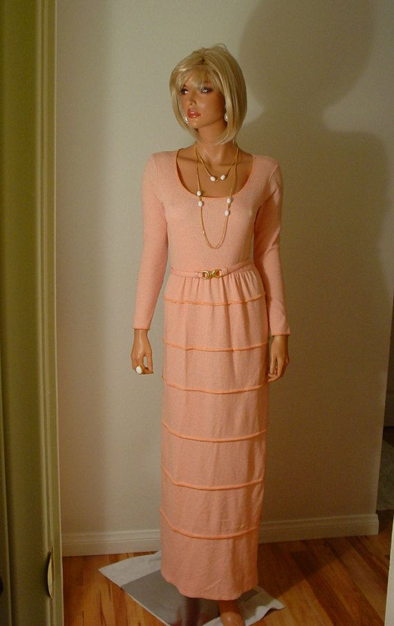 1970s Peach Knit Maxi Dress with Matching Belt  Union Label