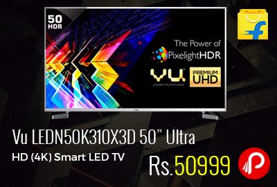 "Flipkart is offering 20% off on Just Launched Model of Vu LEDN50K310X3D 50"" Ultra HD (4K) Smart LED TV at Rs.50999 Only. 2017 Model, 178 degree Viewing Angle, 20 W Speaker Output, 50 Hz Refresh Rate, Dolby Digital, dbx-tv, 1 Year Vu Domestic Warranty.  http://www.paisebachaoindia.com/vu-ledn50k310x3d-50-ultra-hd-4k-smart-led-tv-at-rs-50999-only-flipkart/"
