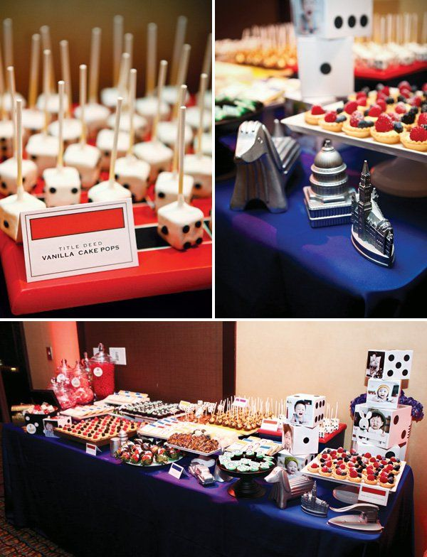 monopoly game themed desserts like dice cake pops