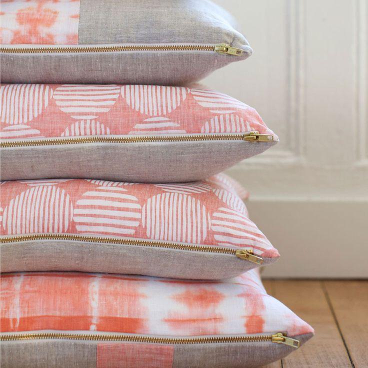 Striped Shibori Tangerine Pillow