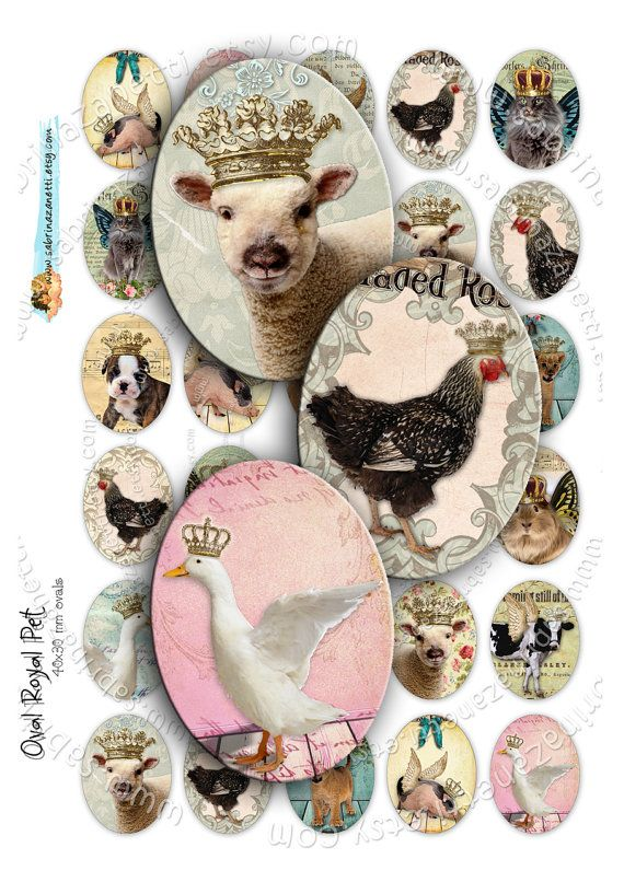 Digitale Collage OVAL ROYAL PET druckbare 30 x 40 mm Haustier Welpe Krone Hund Katze fü …   – DIY & Crafts