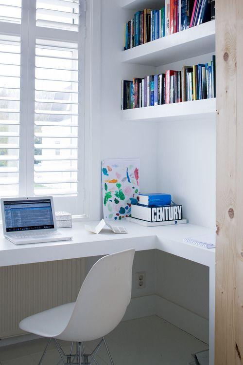study corner, white shutters.