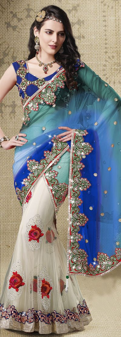 Blue and White Net Wedding Lehenga Saree 31283