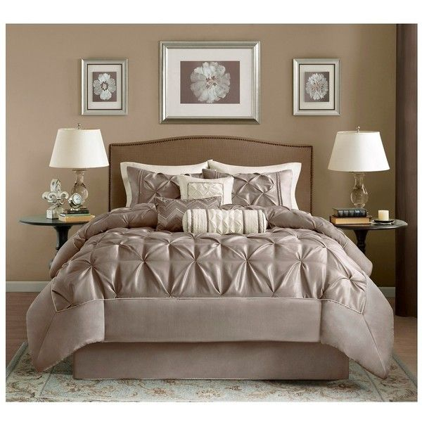 Piedmont 7 Piece Comforter Set - Queen - Taupe (175 CAD) ❤ liked on Polyvore featuring home, bed & bath, bedding, comforters, brown, pleated comforter set, plush comforter sets, queen bedding, brown comforter and brown comforter sets