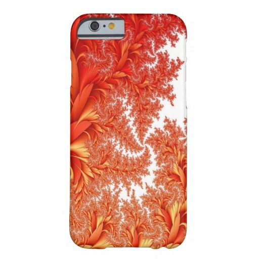 Gorgeous Abstract iPhone Case Barely There iPhone 6 Case -  - orange pink white fractal foliage leaves flowers fern ferns patterns flowy swirly crisp clean cushion