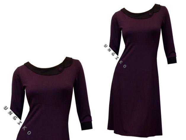 Entdecke lässige und festliche Kleider: OUTLET Kleid Gr.36 pflaume/nachtblau NP 75 Euro made by ungiko via DaWanda.com