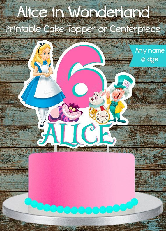 Custom Alices Adventures in Wonderland Birthday Cake Topper