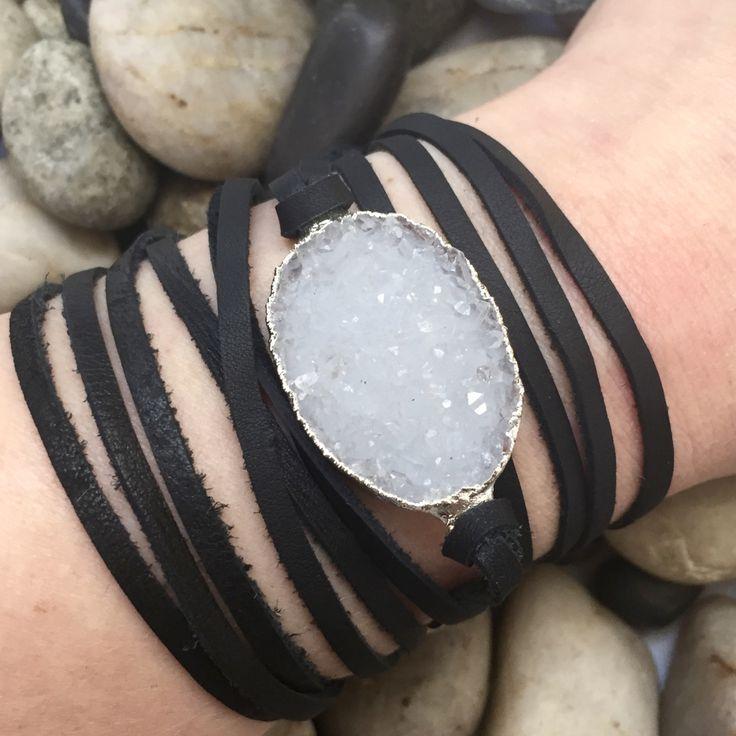 White Druzy and Black Leather Wrap