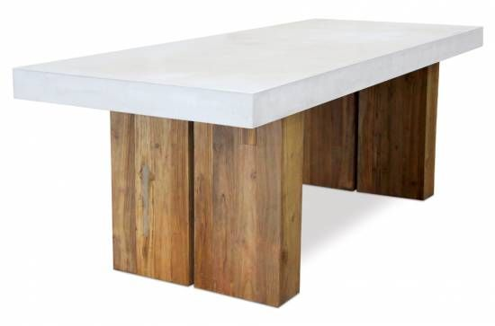 Cessa Light Concrete And Teak Dining Table With Hollow