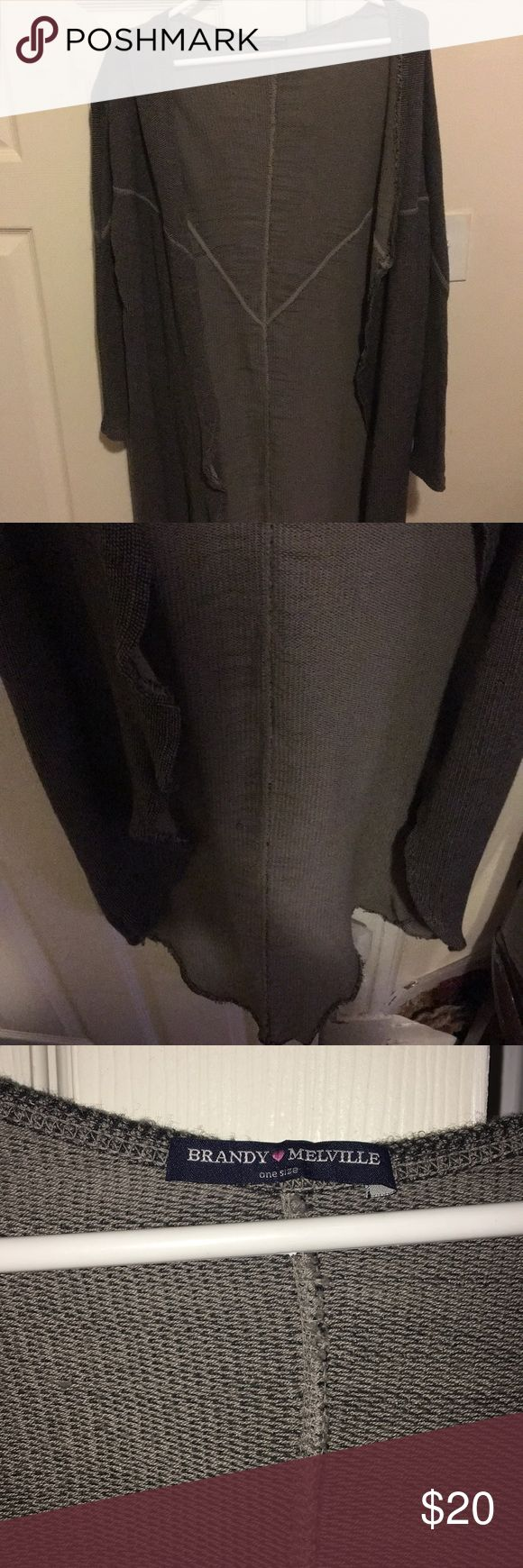 Brandy Melville Cardigan Brandy Melville extra long open front cardigan. Only worn once! Brandy Melville Sweaters Cardigans