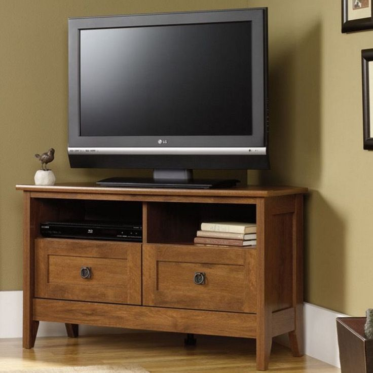 Corner TV Stands For Flat Screens Storage Cabinet Media Console Wood Stand  NEW #Sauder #
