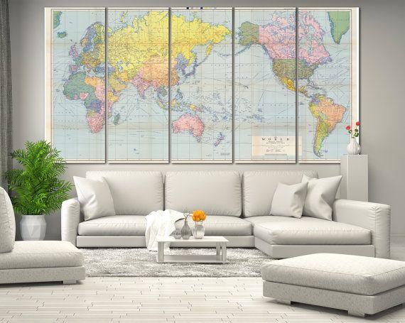 Large Wall Art World Map Canvas Print Living Room Panel Real Atlas