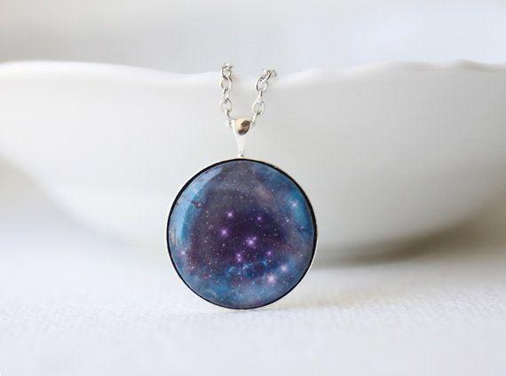 Purple Nebula Necklace  Rosette Nebula  Galaxy Space by smafactory, $20.00