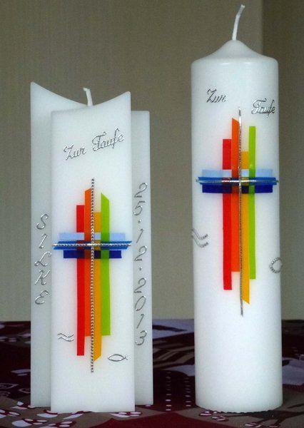 Kommunionkerzen - Moderne Kerze f. Kommun. & Taufe, Kreuz gef... - ein Designerstück von kerzenwibke bei DaWanda