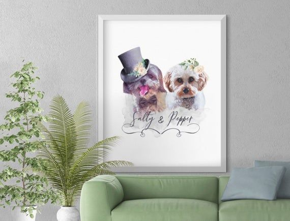 Dog Couple Wedding Portrait | Funny Custom Pet Portrait | Printable Personalized… – Products