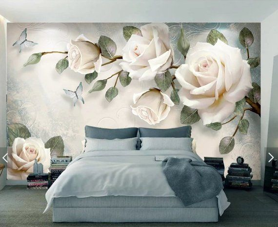 3d wall mural flowers, wallpaper mural, wallpaper for bedroom, removable wallpaper mural for bedroom, wall decor, home decor