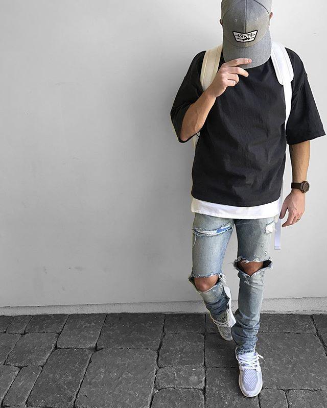 Posted ☝️ _ #shirt + #jeans #fearofgod #tank #fog + #pacsun #shoes #ultraboost #knapsack #offwhite #watch #hublot #hat #vans