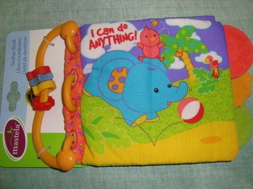 """Judul: Teetherbook Mastela - I can do anything. Grup: A Kode: BB-AT4  Ukuran tertutup : 22 x 14 cm Halaman: 4 hal isi + 2 hal sampul  Buku kain dengan teether (gigitan bayi) dilengkapi dengan beads di pegangannya (rattle), jadi selain dibaca, soft book ini juga enak buat digigit bayi. Bunyi gemerisik akan keluar jika cover dan halaman belakang buku dipegang. Bunyi """"nyet-nyet"""" akan keluar jika bagian tengah buku dipencet. Cocok untuk bayi usia mulai 3 bulan keatas."""