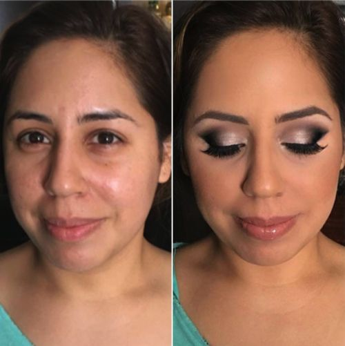 Hispanic Makeup with contouring, smokey eye and eyelash extensions. Perfect your look with professional hair & makeup at Vanity Belle in Orange County & San Diego! We also do in-house eyelash extensions!