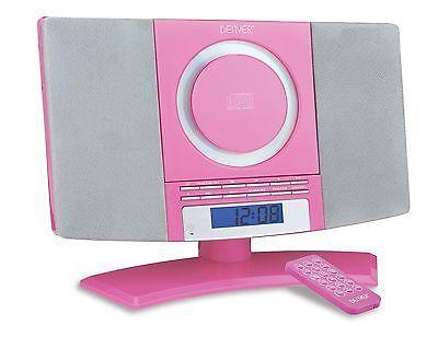 Denver MC-5220 Pink Micro CD Player Aux-In Stereo Audio FM radio Alarm Clock