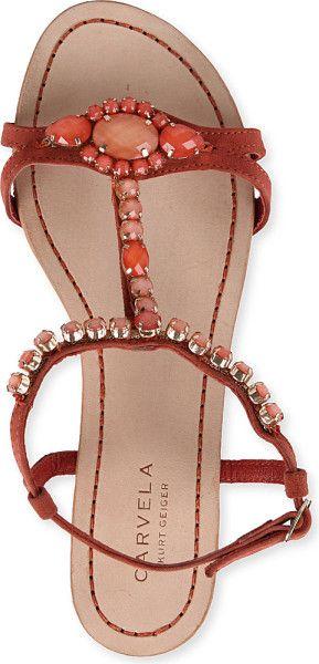 Carvela Kurt Geiger Koko Embellished Suede Sandals in Orange