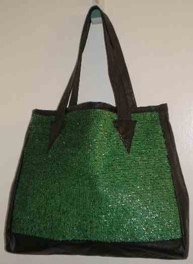Green and Black Shopping Tote Purse Medium by PinkMinka on Etsy, $15.00