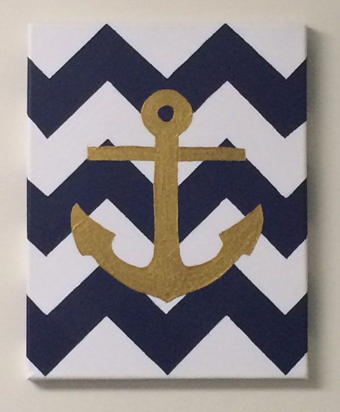 Chevron navy and gold anchor canvas