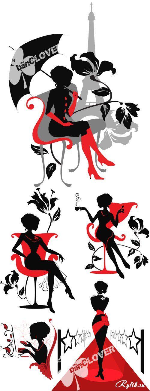 Женский силуэт - красивый векторный клипарт. Woman silhouette