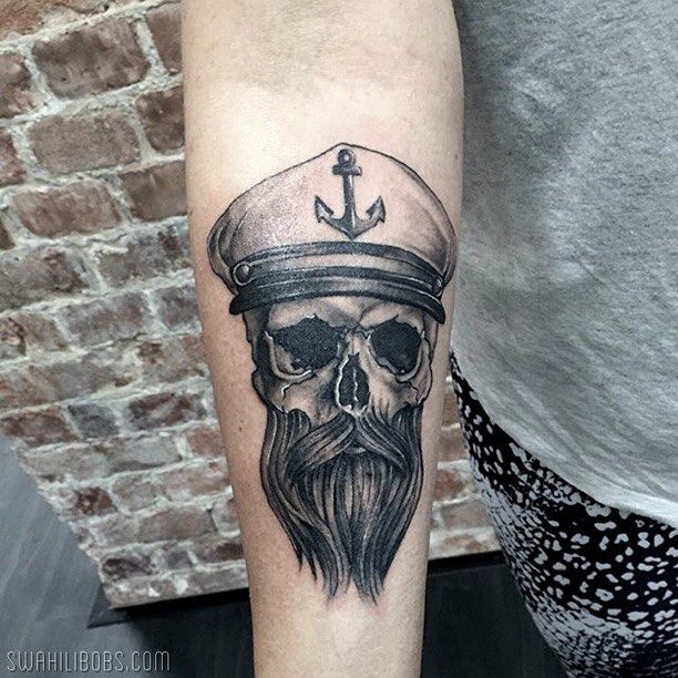Sailor skull by Steve @inglorious_steve #tattoo #tatuering #skull #sailor…