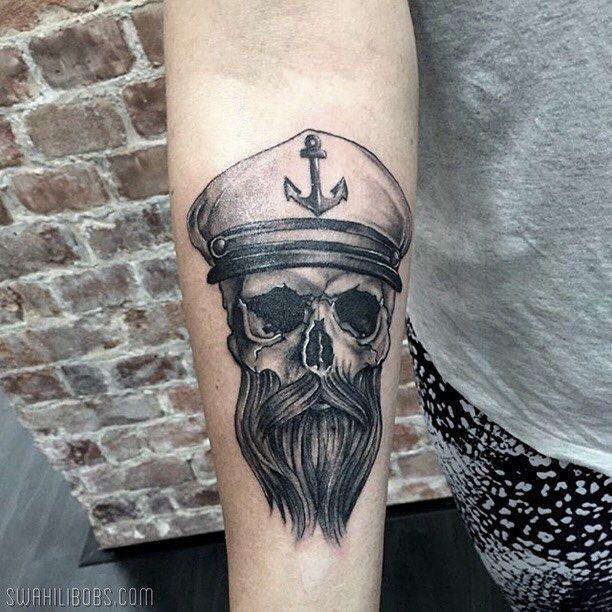 Sailor skull by Steve @inglorious_steve #tattoo #tatuering #skull #sailor…