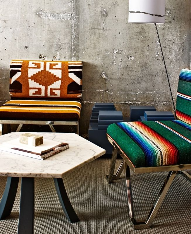 Quirky design touches include modernist chairs upholstered