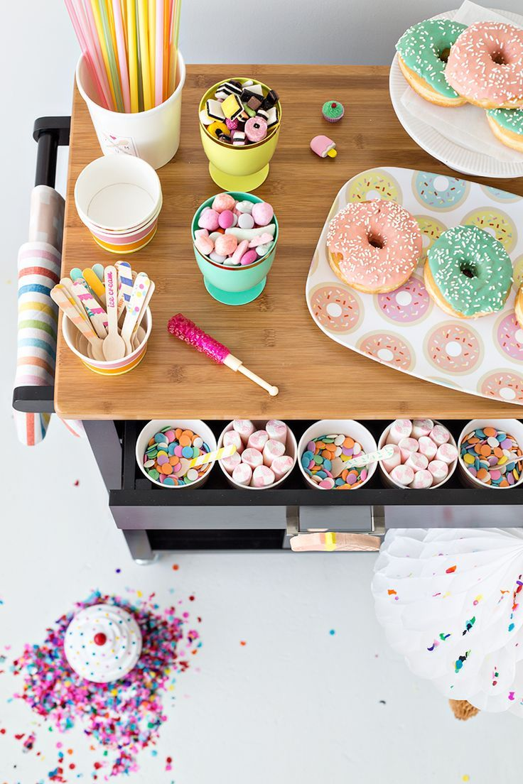 Multiple ways to use a bar cart or party cart - Sweets, party or taco cart.