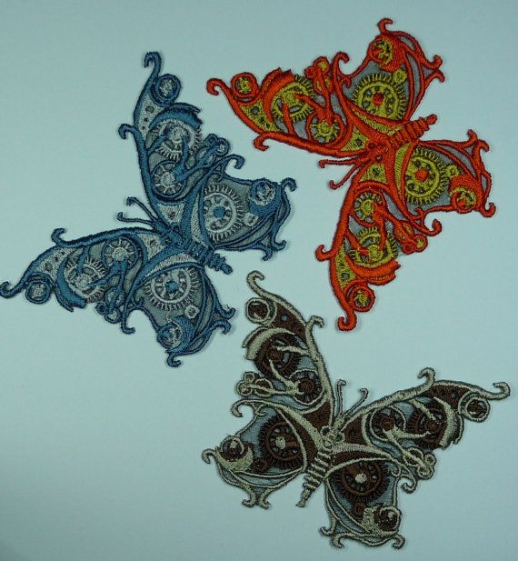 Description    FOREGROUND: This is the colour of the butterfly body in the photos    Brand new embroidered motif. This motif is embroidered on