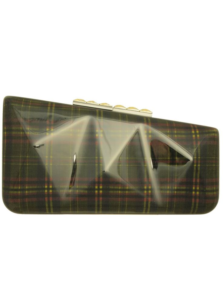Faceted Acrylic Minaudière Clutch in Laminated Tartan: Handbags: Amazon.com