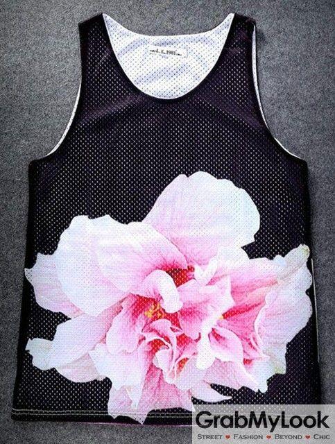 GrabMyLook Black Giant Flower Net Sleeveless Mens T shirt Vest Sports Tank Top