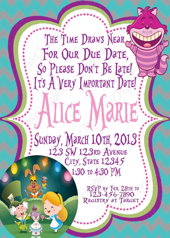 17 best images about alice in wonderland baby shower ideas on, Baby shower invitations