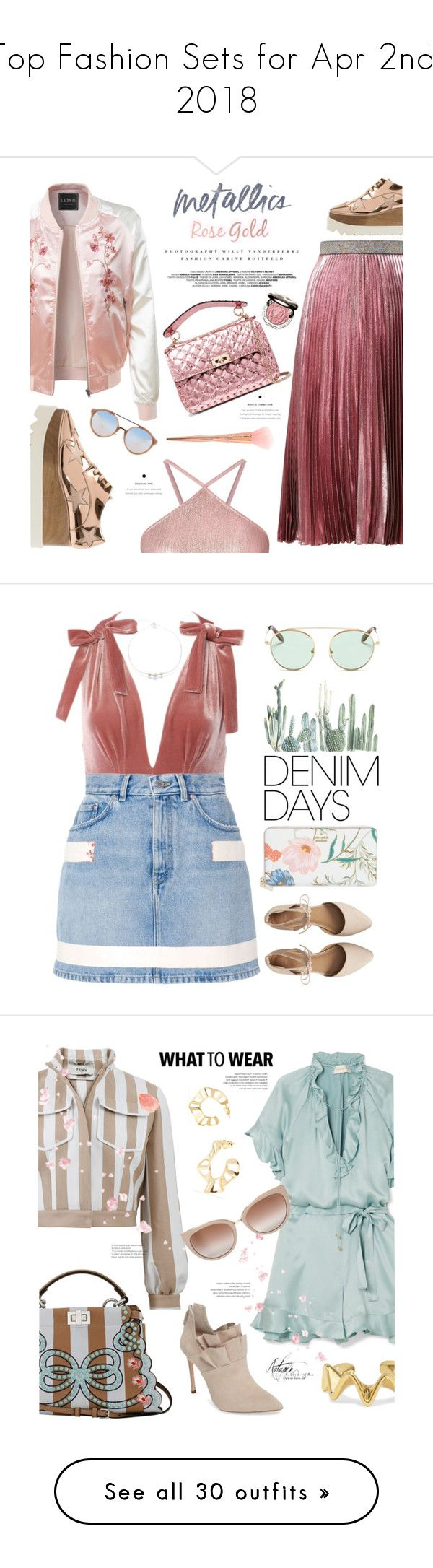 """Top Fashion Sets for Apr 2nd, 2018"" by polyvore ❤ liked on Polyvore featuring LE3NO, Christopher Kane, STELLA McCARTNEY, Miss Selfridge, Kerr®, Valentino, Forever 21, Chantecaille, Tory Burch and metallic"
