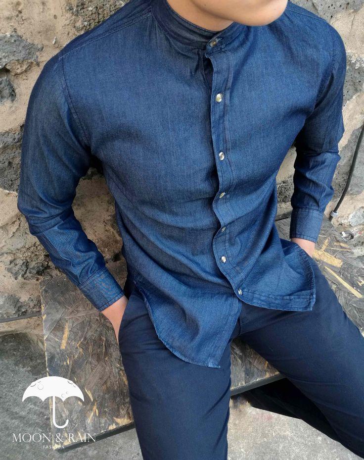 Camisa de Mezclilla Marino en Cuello Mao para hombre - Moon & Rain