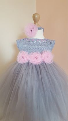 Tutu vestido  flor venda vestido de ganchillo ganchillo